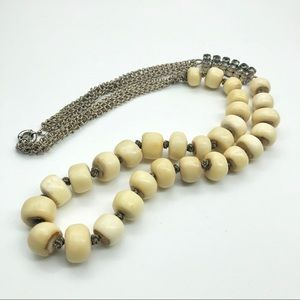 Crazy vintage papua nut + rhinestone necklace